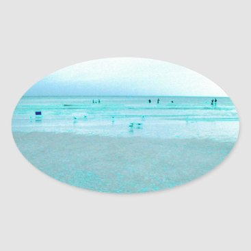 Beach Themed Gulf Coast with Colored Edges Oval Sticker