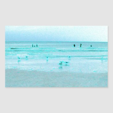 Beach Themed Gulf Coast with Colored Edges Rectangular Sticker