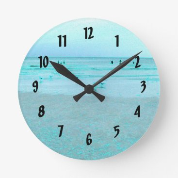 Beach Themed Gulf Coast with Colored Edges Round Clock
