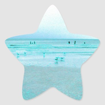 Beach Themed Gulf Coast with Colored Edges Star Sticker