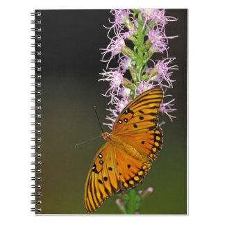 Gulf Fritillary Butterfly on Blazingstar Flower Spiral Notebook