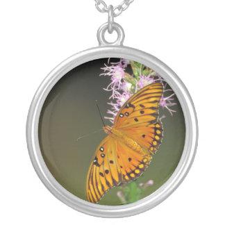 Gulf Fritillary butterfly on Dense Blazingstar Round Pendant Necklace