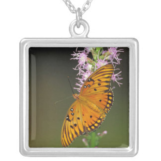 Gulf Fritillary butterfly on Dense Blazingstar Square Pendant Necklace