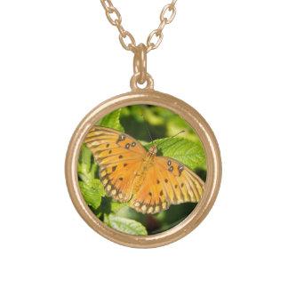 Gulf Fritillary Butterfly Round Pendant Necklace