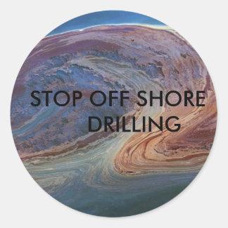 gulf oil 2, STOP OFF SHORE      DRILLING Classic Round Sticker