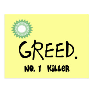 "Gulf Oil Spill ""Greed""  Products Post Card"