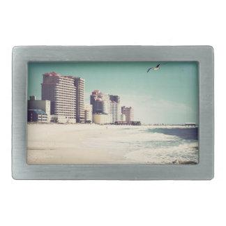 Gulf Shores, Alabama Sandwriting Beach Waves Words Belt Buckle