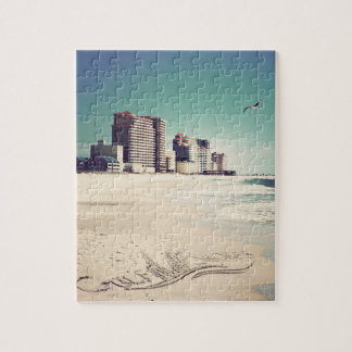 Gulf Shores, Alabama Sandwriting Beach Waves Words Jigsaw Puzzles