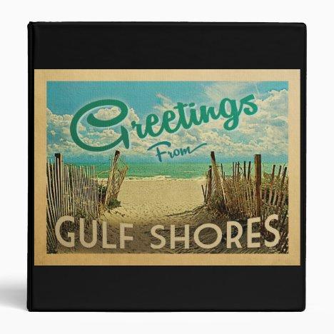 Gulf Shores Beach Vintage Travel 3 Ring Binder