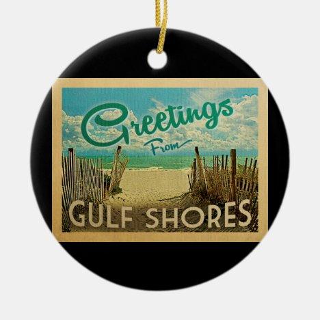 Gulf Shores Beach Vintage Travel Ceramic Ornament