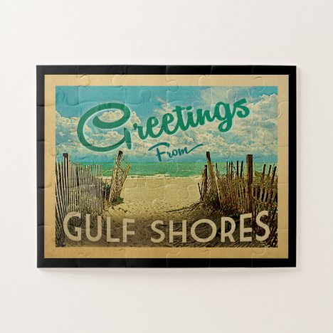 Gulf Shores Beach Vintage Travel Jigsaw Puzzle