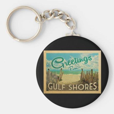Gulf Shores Beach Vintage Travel Keychain