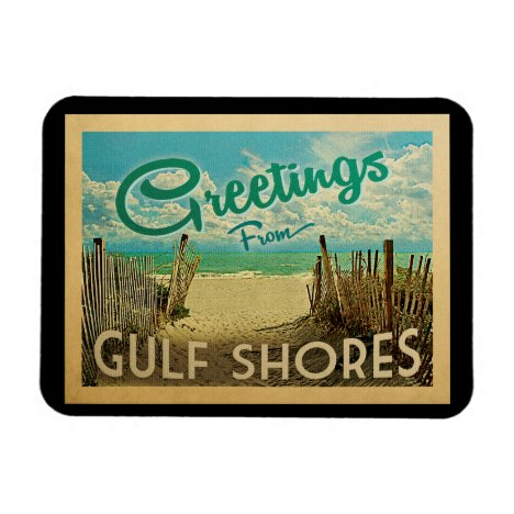 Gulf Shores Beach Vintage Travel Magnet