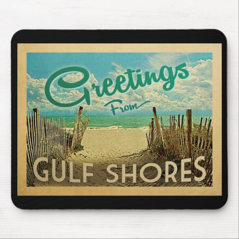 Gulf Shores Beach Vintage Travel Mouse Pad