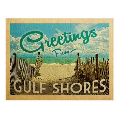 Gulf Shores Beach Vintage Travel Postcard