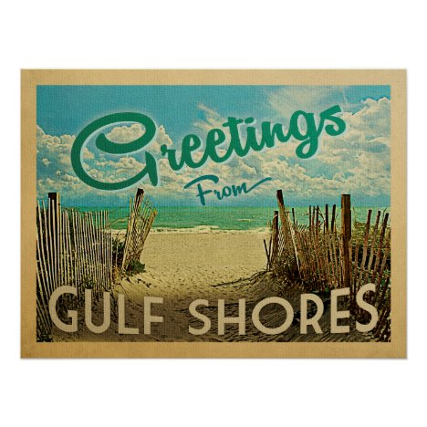 Gulf Shores Beach Vintage Travel Poster