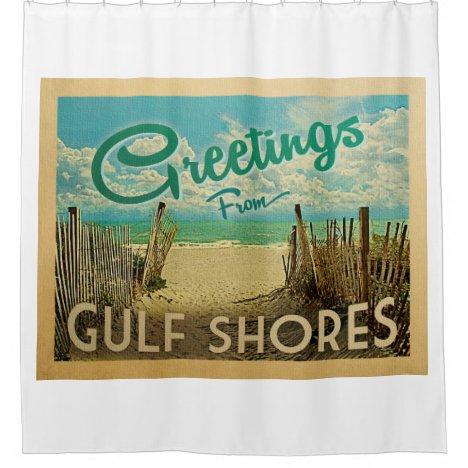 Gulf Shores Beach Vintage Travel Shower Curtain