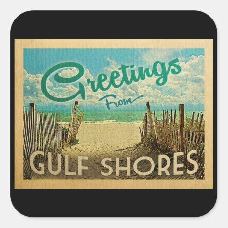 Gulf Shores Beach Vintage Travel Square Sticker