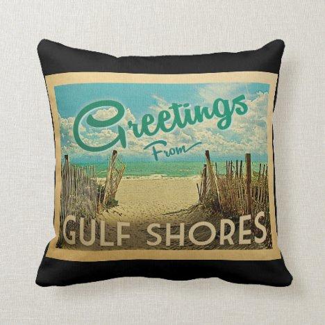Gulf Shores Beach Vintage Travel Throw Pillow