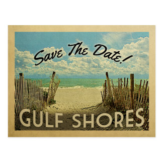 Gulf Shores Save The Date Vintage Beach Nautical Postcard