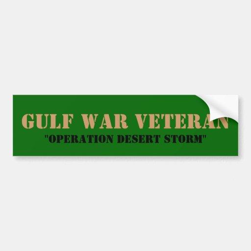 """GULF WAR VETERAN, """"OPERATION DESERT STORM"""" BUMPER STICKER"""
