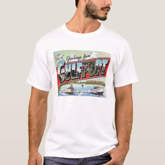 Gulfport, MS Vintage Large Scenic Letters T-Shirt