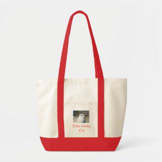 Gull closeup Tybee Island GA Canvas Bags