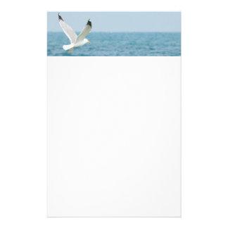 Gull flying above sea stationery