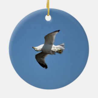 Gull Flying Upside Down Funny Wildlife Photography Double-Sided Ceramic Round Christmas Ornament