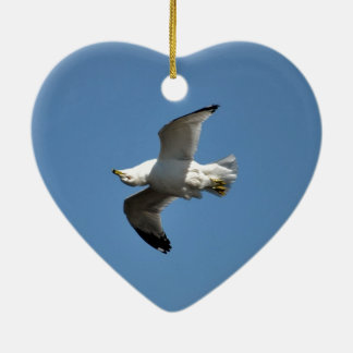 Gull Flying Upside Down Funny Wildlife Photography Double-Sided Heart Ceramic Christmas Ornament