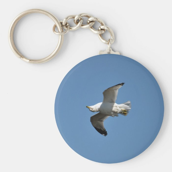Gull Flying Upside Down Funny Wildlife Photography Keychain