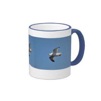 Gull Flying Upside Down Funny Wildlife Photography Ringer Coffee Mug
