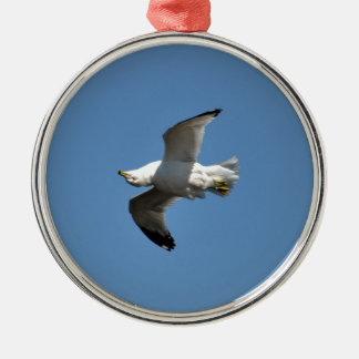 Gull Flying Upside Down Funny Wildlife Photography Round Metal Christmas Ornament