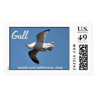 Gull Flying Upside Down Funny Wildlife Photography Stamp