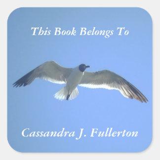 Gull in Flight Personalized Bookplate Square Sticker