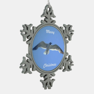 Gull in Flight Snowflake Pewter Christmas Ornament