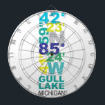 "Gull Lake, MI Coordinates - Water Dart Board<br><div class=""desc"">There is something magical about this little/big lake located in Southwest Michigan. Home to lake lounging, sunsets, family, sailboats... even an island &amp; sandbar! You&#39;ll never forget the memories you&#39;ve made on this midwest gem. Show your love for this hometown lake and vacation destination. *Coordinate designs can be made for...</div>"