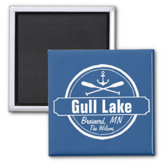 Gull Lake Minnesota anchor, paddles town and name 2 Inch Square Magnet