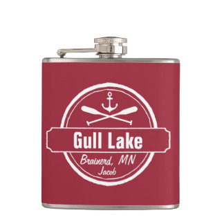 Gull Lake Minnesota anchor, paddles town and name Hip Flask