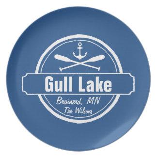 Gull Lake Minnesota anchor, paddles town and name Melamine Plate