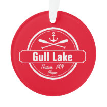 Gull Lake Minnesota anchor, paddles town and name Ornament