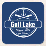 "Gull Lake Minnesota anchor, paddles town and name Square Paper Coaster<br><div class=""desc"">Gull Lake, Minnesota nautical anchor design is personalized with your town (such as Brainerd, Nisswa, etc.) and your name (or delete). This retro, vintage style design features a white circle, anchor, crisscrossed paddles and a bold banner that reads Gull Lake. Perfect for the boating enthusiast or anyone who loves Gull...</div>"