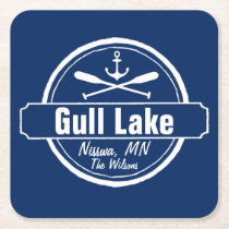 Gull Lake Minnesota anchor, paddles town and name Square Paper Coaster