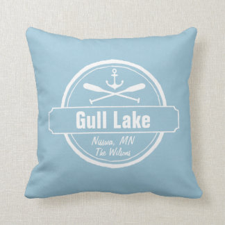 Gull Lake Minnesota anchor, paddles town and name Throw Pillow