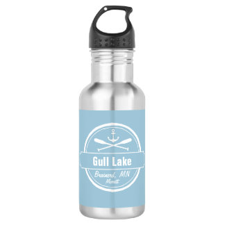 Gull Lake Minnesota anchor, paddles town and name Water Bottle