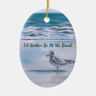 Gull on the Shore Ceramic Ornament