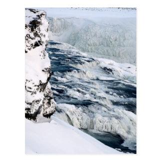 Gullfoss icebound at distance postcard