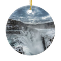 Gullfoss Waterfall, Iceland Ceramic Ornament