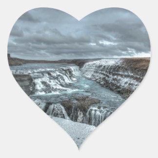 Gullfoss Waterfall, Iceland Heart Sticker