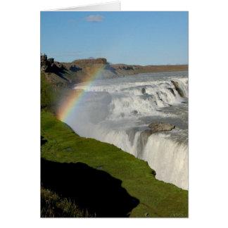 Gullfoss waterfall in summer greeting card